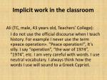 implicit work in the classroom