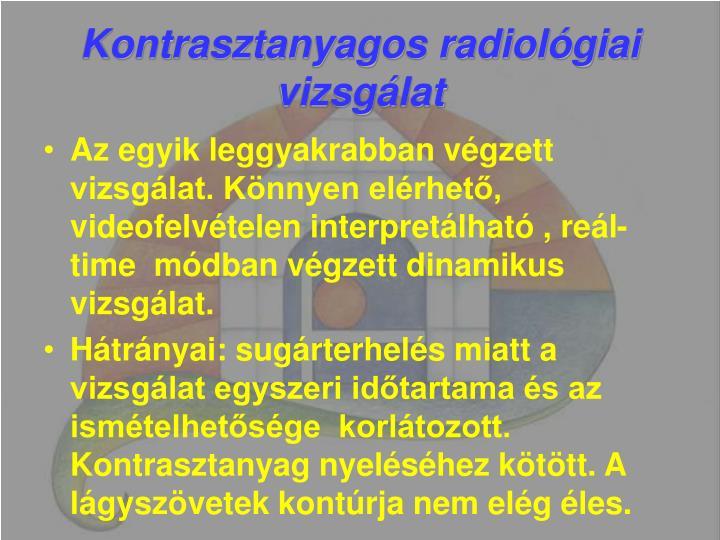 Kontrasztanyagos radiológiai vizsgálat