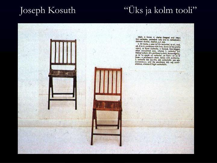 """Joseph Kosuth                    """"Üks ja kolm tooli"""""""