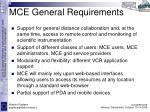 mce general requirements