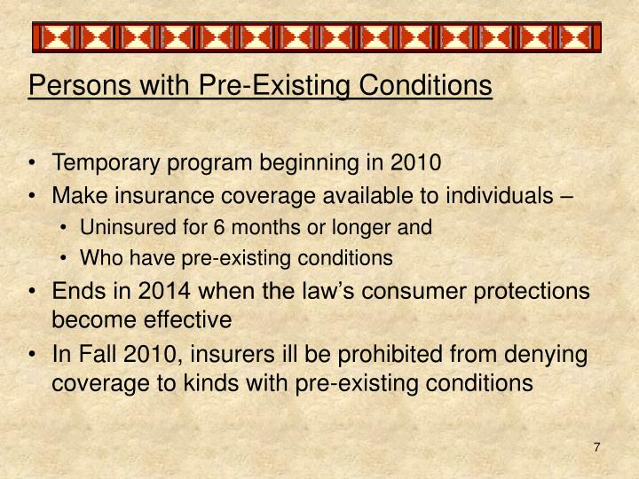 Persons with Pre-Existing Conditions