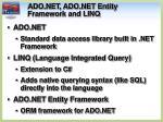 ado net ado net entity framework and linq