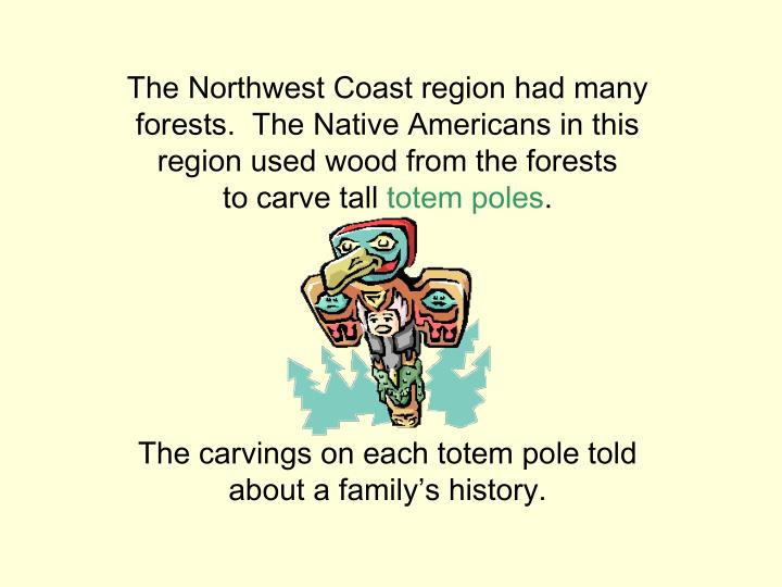 The Northwest Coast region had many forests.  The Native Americans in this