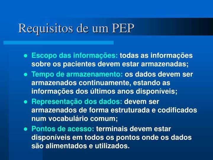 Requisitos de um PEP