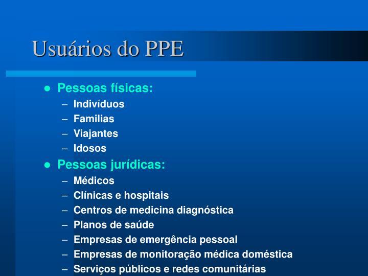 Usuários do PPE