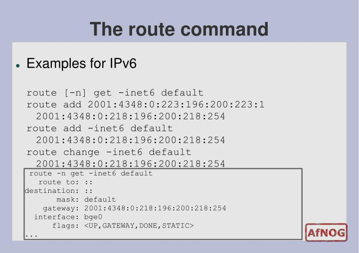 The route command