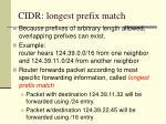 cidr longest prefix match