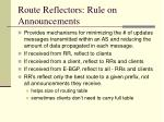 route reflectors rule on announcements