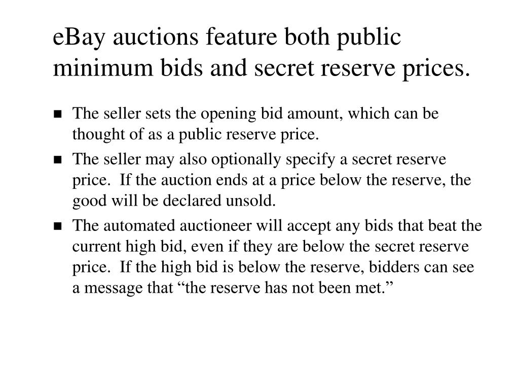 Ppt Public Versus Secret Reserve Prices In Ebay Auctions Results Of A Pokemon Field Experiment Powerpoint Presentation Id 4729485