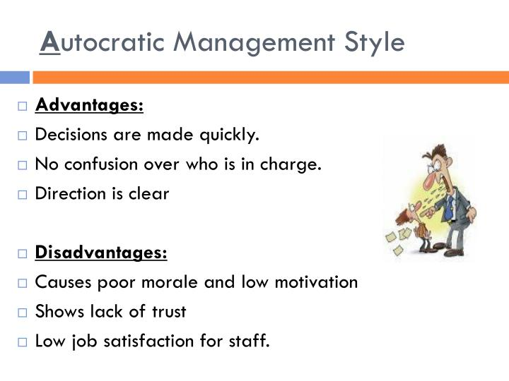 democratic leadership style advantages and disadvantages The democratic leadership style, which is also referred to as shared leadership or participative leadership, encourages members of a team to take on responsibilities.
