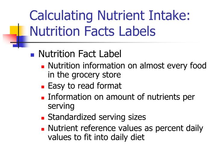 Calculating Nutrient Intake: Nutrition Facts Labels