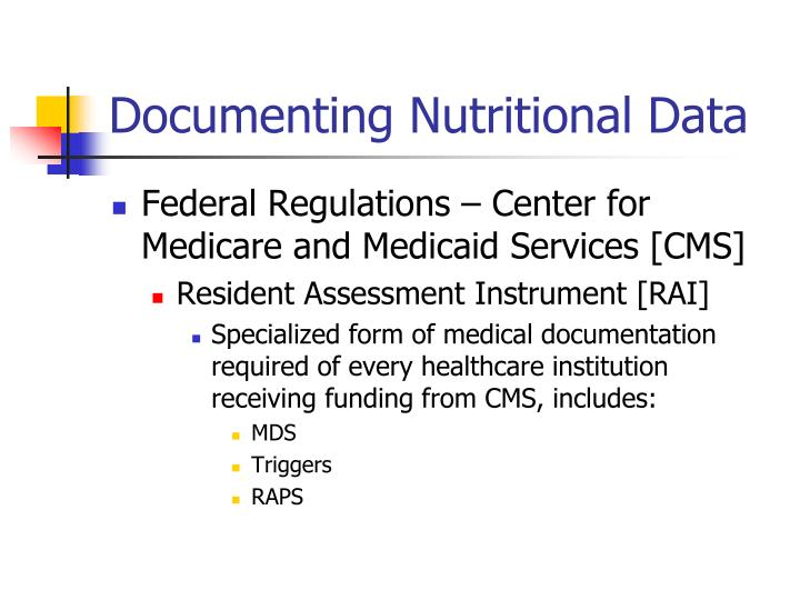 Documenting Nutritional Data