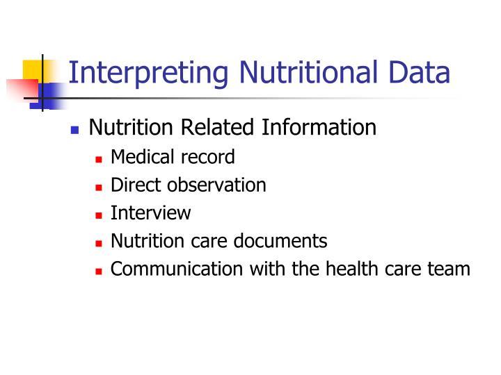 Interpreting Nutritional Data