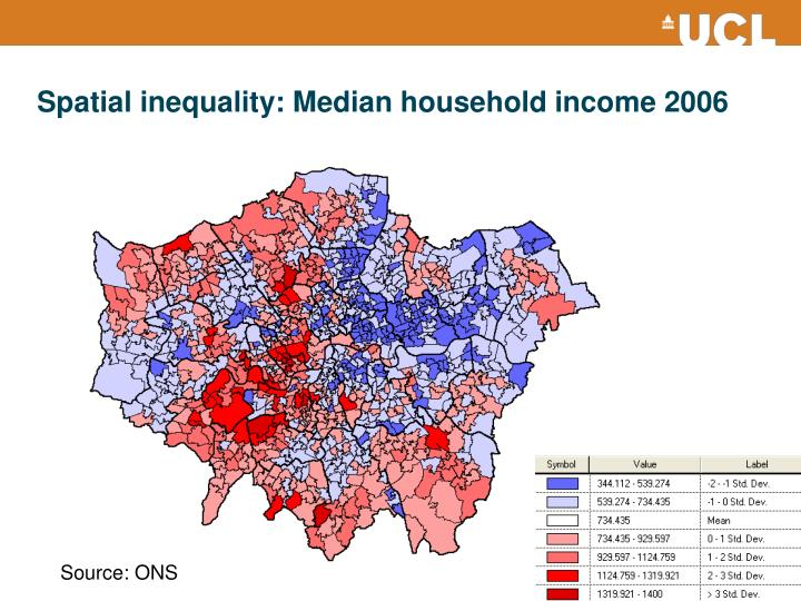 Spatial inequality: Median household income 2006
