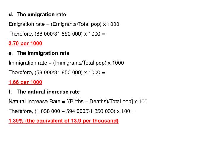 The emigration rate