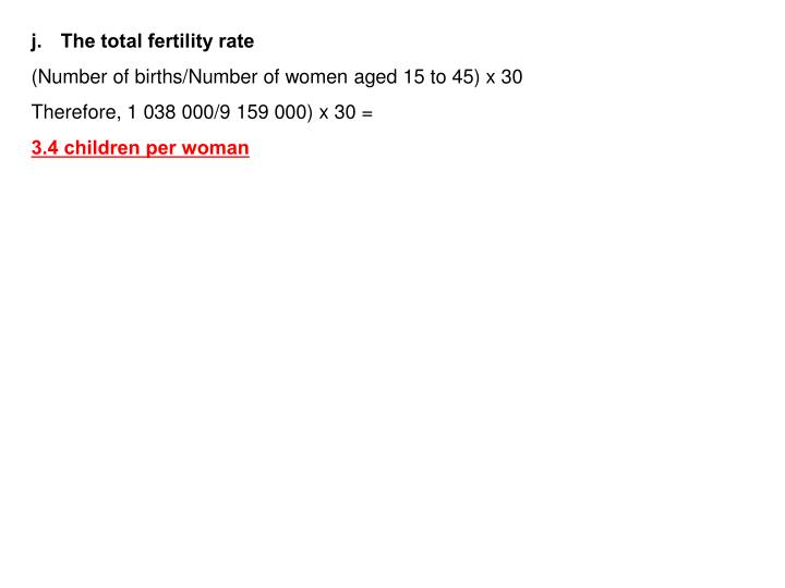 The total fertility rate