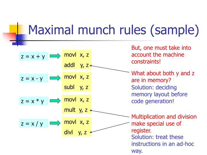 Maximal munch rules (sample)