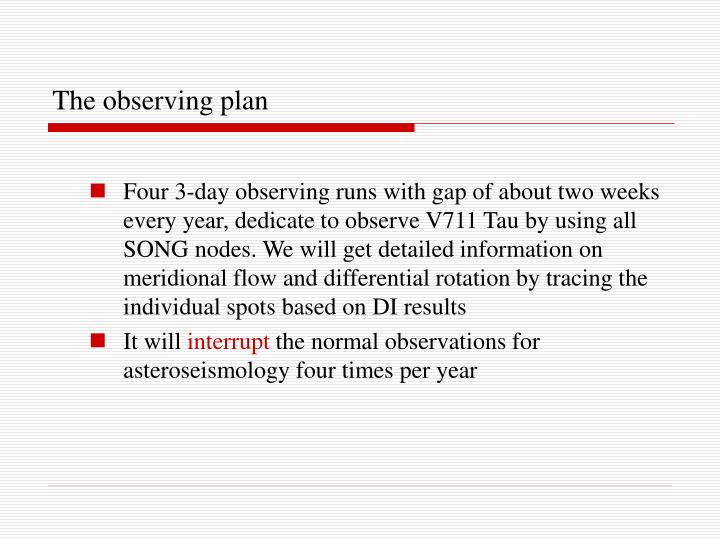 The observing plan