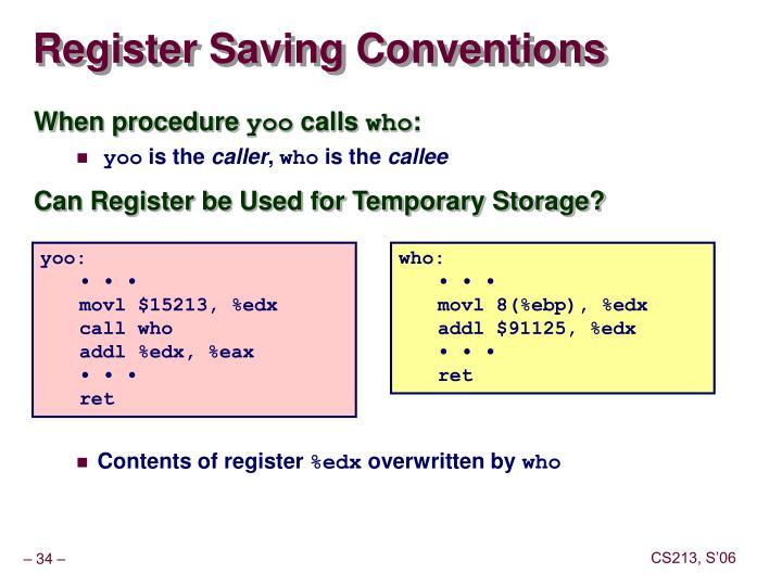 Register Saving Conventions