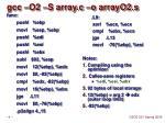 gcc o2 s array c o arrayo2 s
