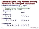 generalizing the array address indexing formula to 3 rd and higher dimensions
