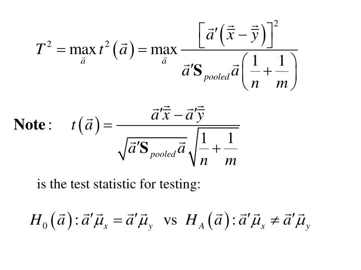 is the test statistic for testing: