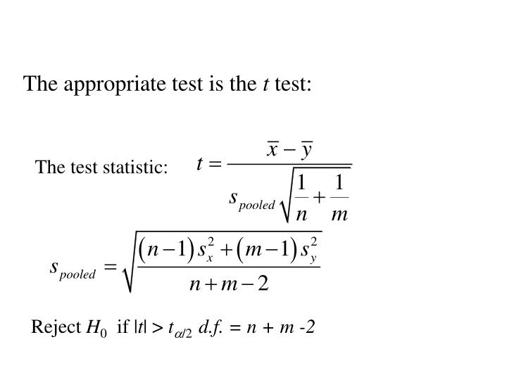 The appropriate test is the