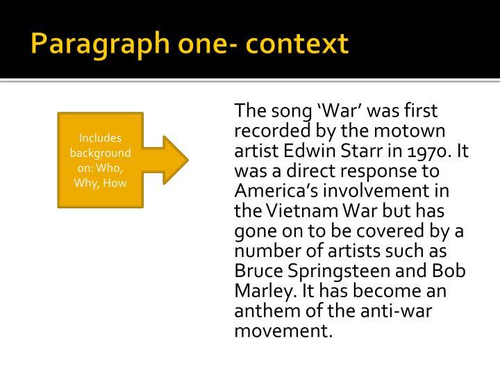 Paragraph one context