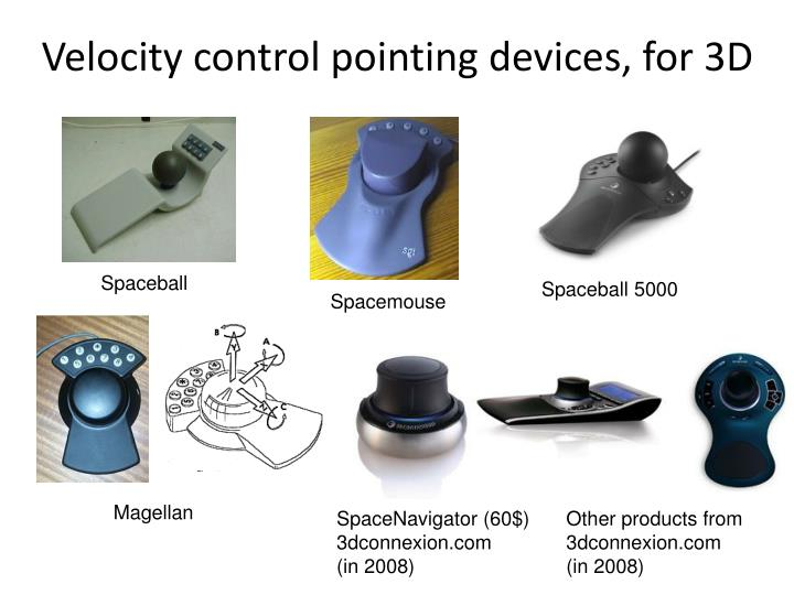 Velocity control pointing devices, for 3D