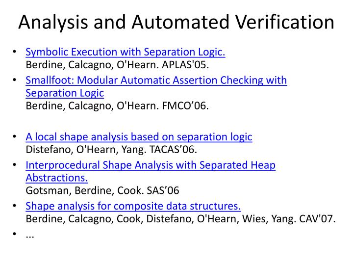 Analysis and Automated Verification