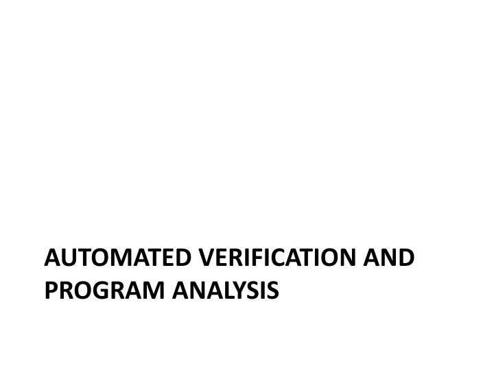 Automated verification and