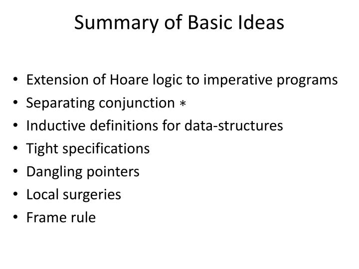 Summary of Basic Ideas