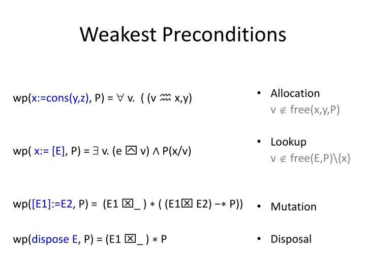 Weakest Preconditions