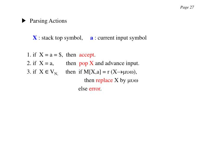 ▶  Parsing Actions