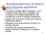 growing areas future of patterns and e business applications