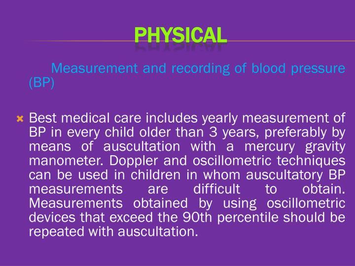 Measurement and recording of blood pressure (BP)