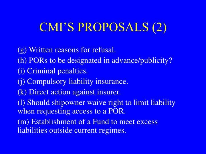 CMI'S PROPOSALS (2)
