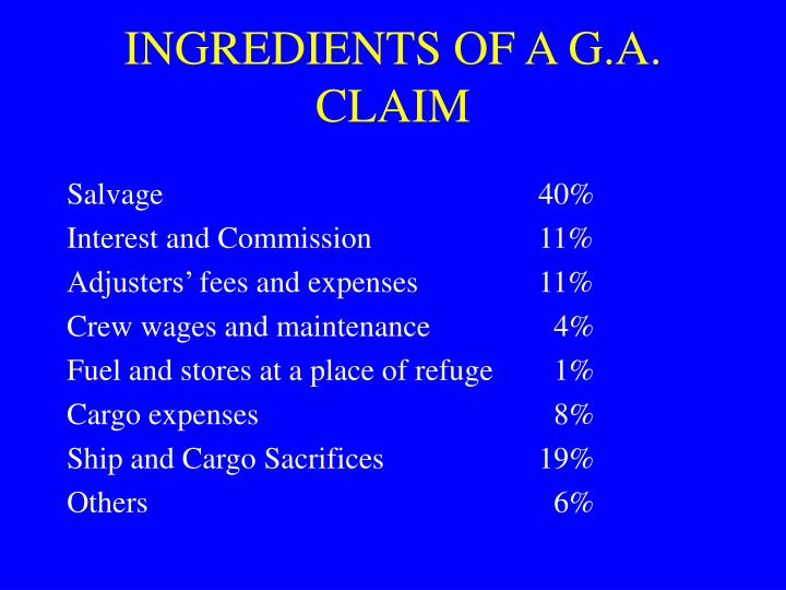 INGREDIENTS OF A G.A. CLAIM