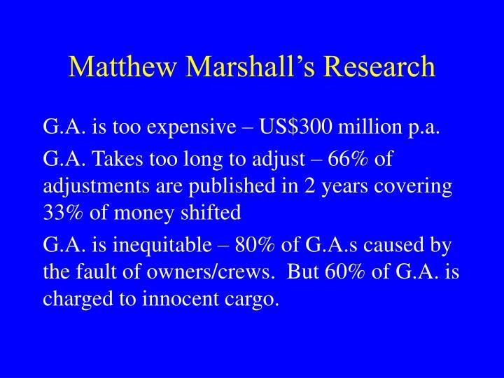 Matthew marshall s research