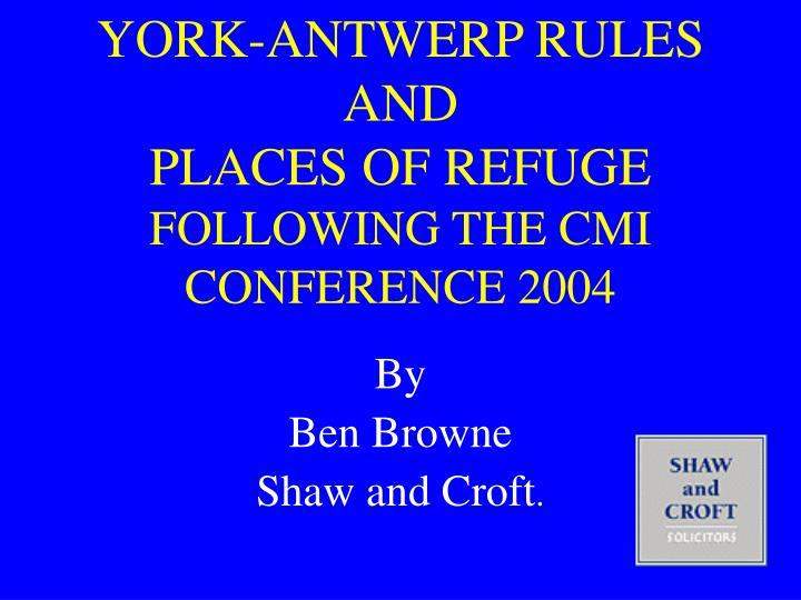 YORK-ANTWERP RULES