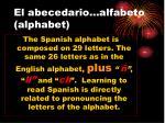 el abecedario alfabeto alphabet