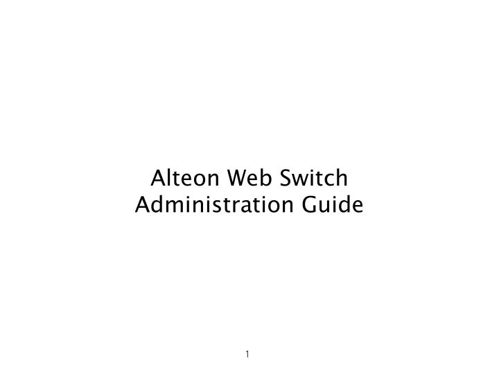 Alteon web switch administration guide