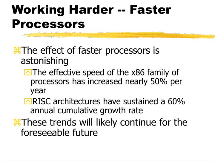 Working Harder -- Faster Processors