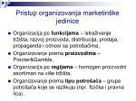 pristup organizovanja marketin ke jedinice