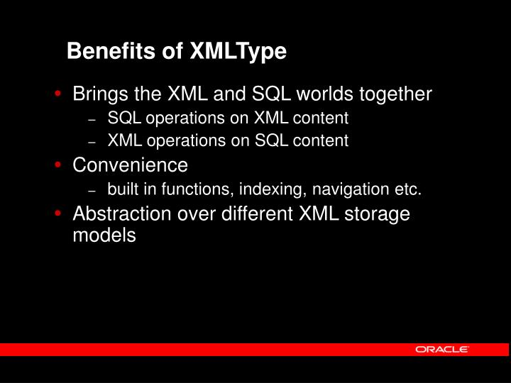 Benefits of XMLType