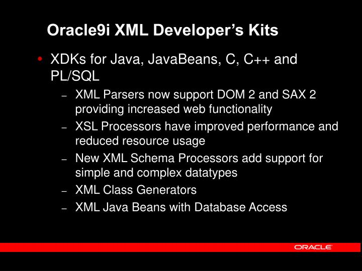 Oracle9i XML Developer's Kits