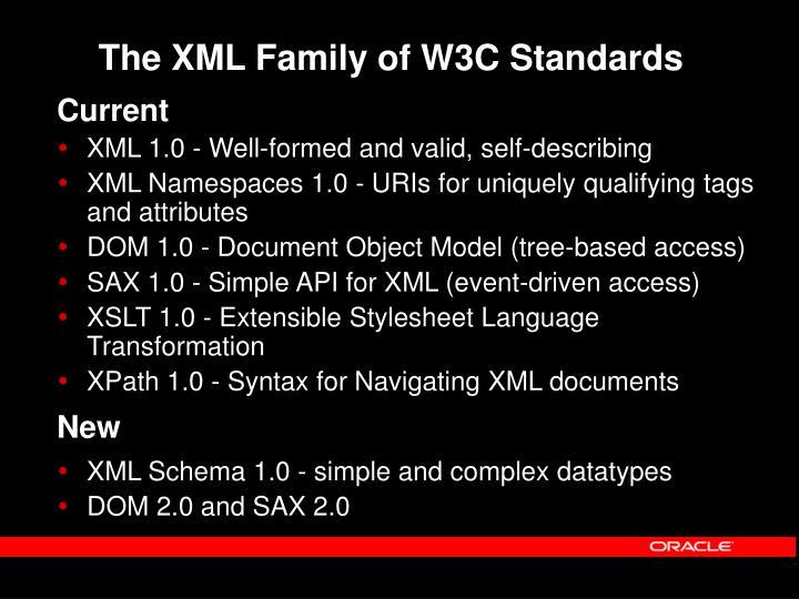 The XML Family of W3C Standards