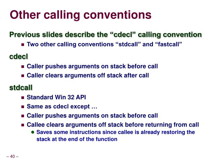Other calling conventions