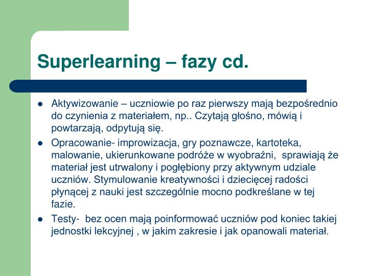 Superlearning – fazy cd.