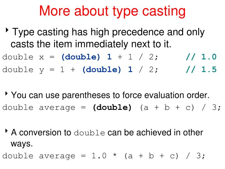 More about type casting